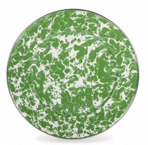 Green & White Marbelized Plate